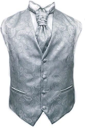 Gilet Uomo Sartoriale Elegante Cerimonia Grigio Fantasia Paisley con Plastron o Cravatta 100%...