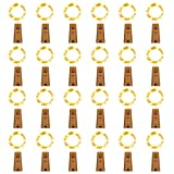 HAOSEE 24 Pack 20 Led Wine Bottle Lights with Cork,3.3Ft Silver Wire Warm White Cork...
