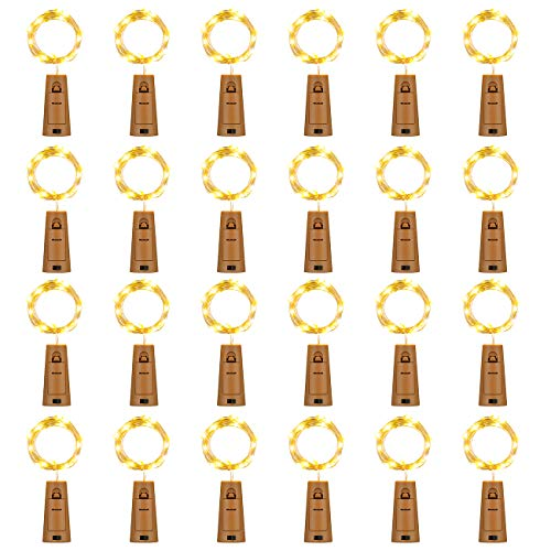 HAOSEE 24 Pack 20 Led Wine Bottle Lights with Cork,3.3Ft Silver Wire Warm White Cork Lights Battery Operated Fairy Mini...
