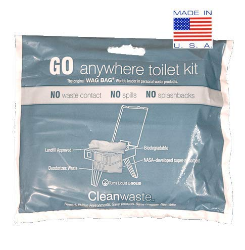12 Pack GO Anywhere Lightweight Portable Toilet Refill Kit for Camping, Hiking, Backpacking w/ 12 Toilet Waste Kits (Waste Bag with Poo Powder, Zip-Close Storage Bag, Toilet Paper & Moist Towelette)