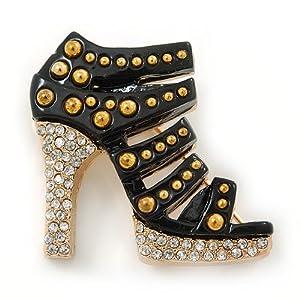 Avalaya – Spilla a forma di scarpa con tacco alto in cristallo color oro, lunghezza 35 mm