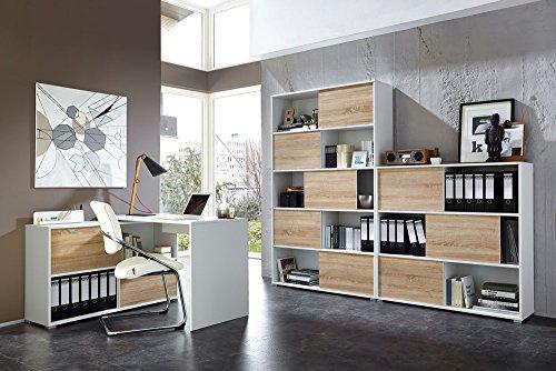 lifestyle4living 3-TLG. Büromöbel-Set: Eckschreibtisch 120 x 120 cm, Schiebetürenregal H: 196 cm, Schiebetürenregal H: 119 cm, in Weiß/Sonoma-Eiche Nachb.