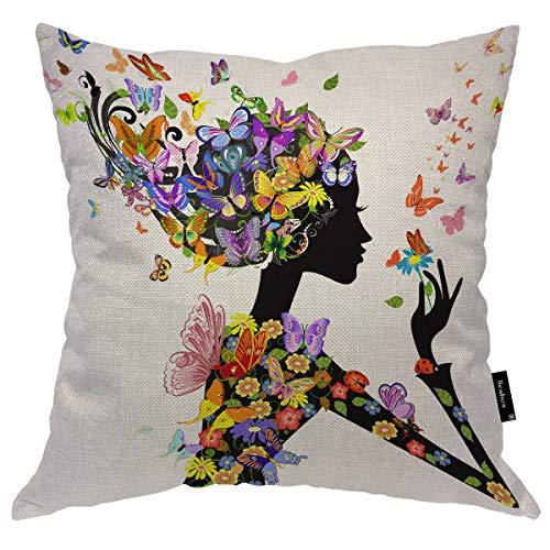 Seemuch Fundas de almohada para mujer, diseño de mariposa, con flores de color, mariposas, para el cabello, para casa, hotel, hombres, mujeres, 40,6 x 40,6 cm