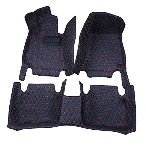 Bonus-Mats Custom Fit Luxury XPE Leather All-Weather Full Surrounded Waterproof Car Floor Mats Floor Liners for BMW 535 Gran Turismo 535GT 550 Gran Turismo 550GT 2014-2017 Black with Red Stitching