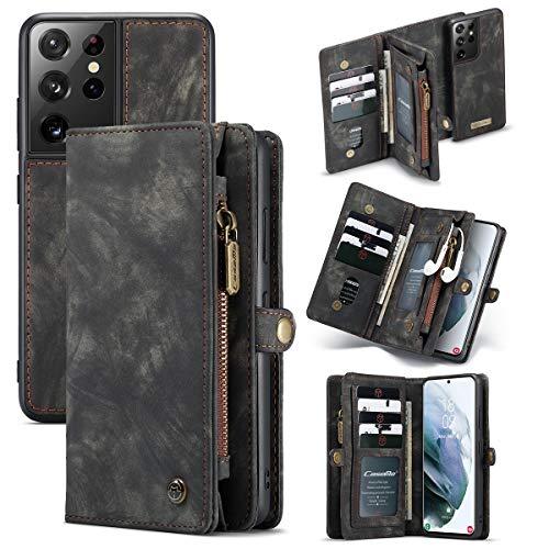 Happy-L Funda para Galaxy S21 Ultra 5G (6.8 pulgadas), multifuncional, tipo cartera con cremallera dividida, diseño desmontable, funda de piel sintética, color negro