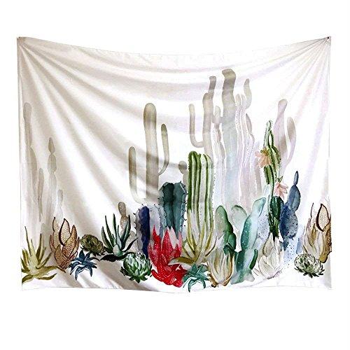 Arfbear Cactus tapiz, tapices de pared amarillo y verde acuarela impresa naturaleza manteles grandes tapices de pared 61 * 78,7 pulgadas