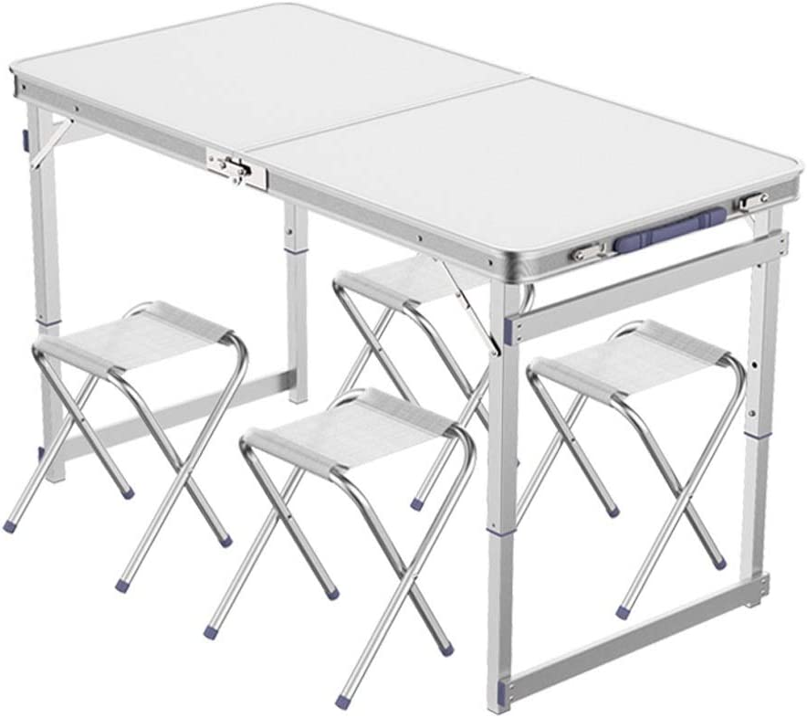 Mesa plegable portátil al aire libre Tabla plegable de la maleta al aire libre del hogar mesa plegable y sistema de la silla de la aleación de aluminio 1.2 M Mesas de campo de picnic ( Color : A )