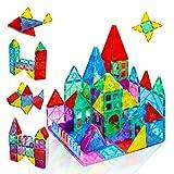 Magnetic Tiles Building Set for Kids Ages 3+,52PCS Magnet Blocks Clear Colors Set,Creativity and...