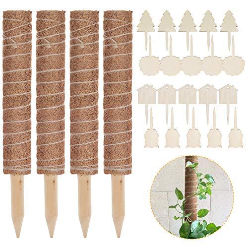 Lemecima 4 Paquetes Palo de Tótem de Coco Palo de Musgo de Coco Tótem de Musgo de Coco para Enredaderas Soporte de Plantas Extensión Escalada Plantas de Interior, 41cm ✅