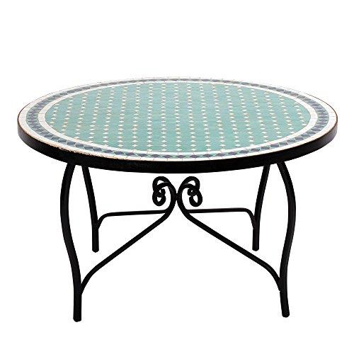 Albena Marokko Galerie Mediterrane Marokkaanse mozaïek tafel diameter 80 cm Koffietafel N Tuin Patio Koffietafel Tafel Tafel Tafel ø 80cm Fero: Türkis/Blau/Weiss