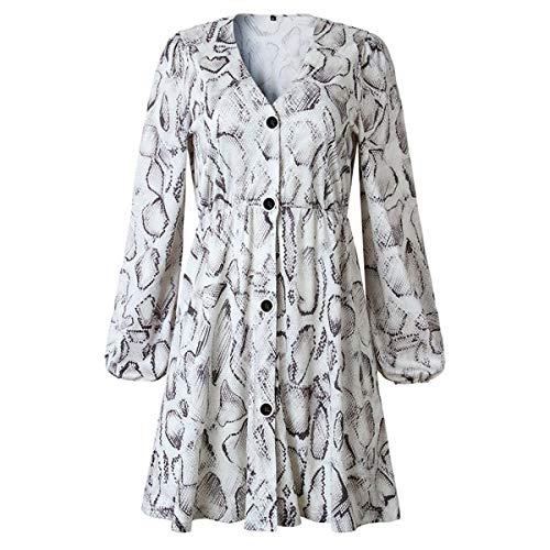 TSEINCE Falda Mujer Otoño High Street Style A-Line Vestido Casual Otoño Impreso Media Manga Botón Vestidos de Fiesta XL Imagen