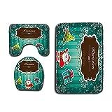 Alfombrillas de Baño Santa Claus de Navidad Tela de la Cortina de Ducha Set de baño Estera del tocador Antideslizante Pedestal Soporte (Color : Verde, Size : One Size)