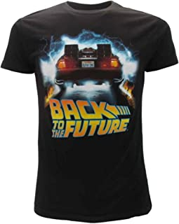 Regreso AL Futuro T-Shirt Camiseta Negra Delorean Outatime Oficial Original Back To The Future