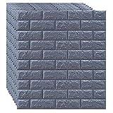 SQINAA Paneles de Pared 3D de ladrillo, Papel Tapiz despegable y Adhesivo para decoración de Pared de Fondo de Sala de Estar, Dormitorio,Gris