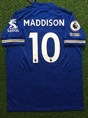 FM James Maddison#10 Leicester City Soccer Jersey 2020-2021 Full Patch Blue Color (L)