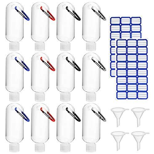 Gifort 12 Piezas Botellas de Viaje 50ml, Botellas de Plástico Portátil Recargables Contenedores de Viaje Vacías con Llavero, Embudos y Etiquetas para Desinfectante, Líquidos, Cosmético