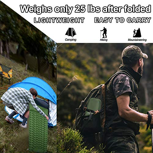 Loowoko Sleeping Pad Camping Mat for Backpacking Gear - Hiking Air Mattress Ultralight Camping Pads with Build-in Inflatable Pump - Upgrade Thickness & Size