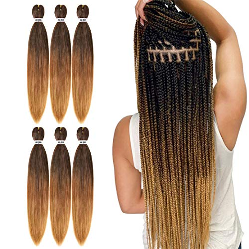 Pre Stretched Braiding Hair 22 Inch 6 Packs Professional Soft Yaki braiding Hair For Braids Hot Water Setting Synthetic Crochet Hair Extensions(1B/30/27)