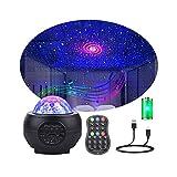 LED Sternenhimmel Projektor Galaxy Light mit Batterie 32 Lichtmodus Bluetooth Musikplayer Timer Sternenlicht Projektor Starry Wasserwellen Nachtlicht für Erwachsene Kinder Zimmer Deko Weihnachten
