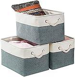 Mangata Juego de 3 cajas de almacenamiento extragrandes, de tela con asas para armarios, armarios, estantes, ropa, juguetes, toallas, baño (plegable, azul frío/gris/blanco)