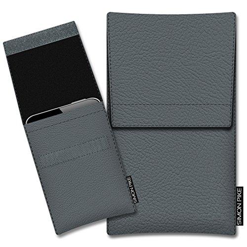 SIMON PIKE Schutztasche Sidney, kompatibel mit BlackBerry Porsche Design P9983, in 01 grau Kunstleder Handyhülle Schutzhülle Handytasche