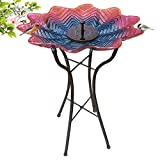 Grateful Gnome - Bird Bath - Hand Painted Glass - Purple Sunrise - 18 inch Bird Bath with 22 inch Tall Metal Stand - Includes A Free Solar Fountain
