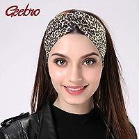 LIFEGeebro 女性のヒョウターバンヘッドバンドツイスト弾性ストレッチヘアバンドファッションヘッドバンドヨガ Headwrap スパヘッドバンド女性のためのヘッドバンド 汗止め