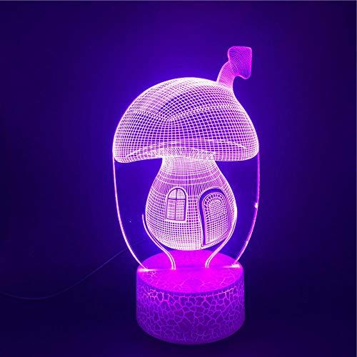 MBFT Bonita casa de hadas de hadas de setas de 7 colores LED de luz nocturna, lámpara de ambiente de iluminación, juguete para regalo, decoración de fiesta 3D anime nocturna