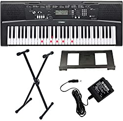 61 Full Size, Touch Sensitive, Lighting Keys Wireless connection to iPad with Yamaha Page Turner app for iPad 392 Voices, 100 Accompaniment Styles, 101 Songs Westmount Stand and official AC Adapter included Free Online Lessons with Yamaha Flowkey - S...