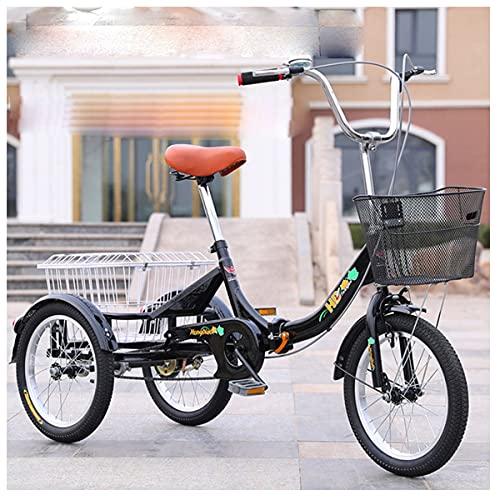 Bicicleta Triciclo Plegable para Adultos Cómodas Bicicletas La Cesta De Verduras Adecuado para El Triciclo De Movilidad (Color : Black)