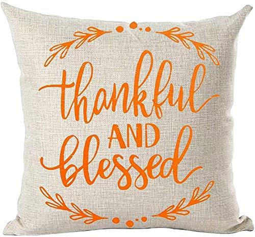 Mesllings - Funda de cojín pintada a mano con diseño de hojas de agradecimiento y benditas de color naranja y acuarela para decorar el hogar, la sala de estar, la cama, el sofá, el coche, de algodón y lino, cuadrada, 45,7 x 45,7 cm