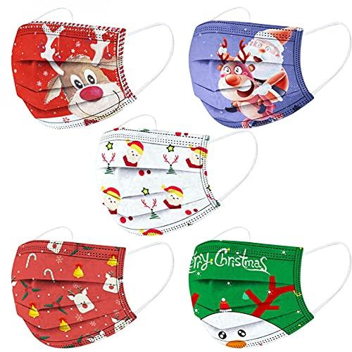Lulupi 50 Stück Kinder Mundschutz Einweg Weihnachtsmotiv Mund Nasenschutz Halstuch Maske 3D Druck Weihnachtsmaske Rentier Motiv Einmal MNS Mund-Tuch Staubdicht Atmungsaktiv Tücher Bandana Schals