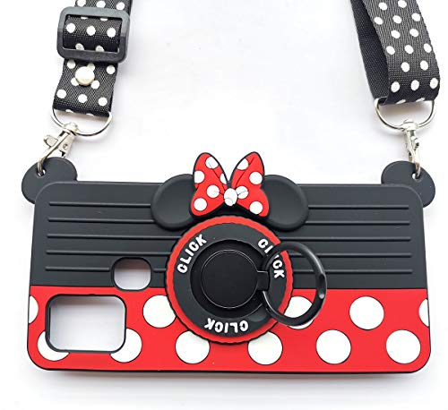 for Samsung Galaxy A21S Case 3D Cute Soft Silicone Cartoon Minnie Mouse Camera Design Phone Case for Women/Girl/Friends Classmate Best Birthday Gift (A21S/6.5in)