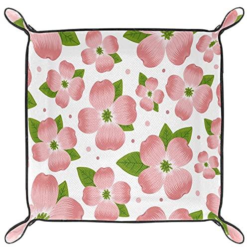 Bandeja de cuero para guardar llaves, teléfono, moneda, cartera, relojes, etc., café, flores de cornejo hojas verdes
