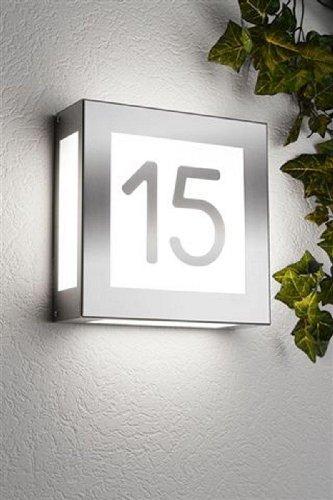 CMD Edelstahl Außenwandleuchte, Hausnummernleuchte Aqua Legendo mit Hausnummer aus Edelstahl Aufgeklebt Typ 42/HN/A
