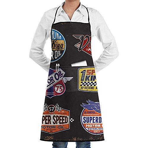F.L.OPOPO Apron Bib Vintage Motoröl Zeichen und Label Set lustige Chef Geburtstag schwarz Schürze Geschenkideen-einstellbare Küche Schürzen Koch Lätzchen Backen Grillen BBQ