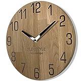Wanduhr Natur 30cm Durchmesser holzoptik 100% Eiche, Holz modern, Wohnzimmer, ohne tickgeräusche
