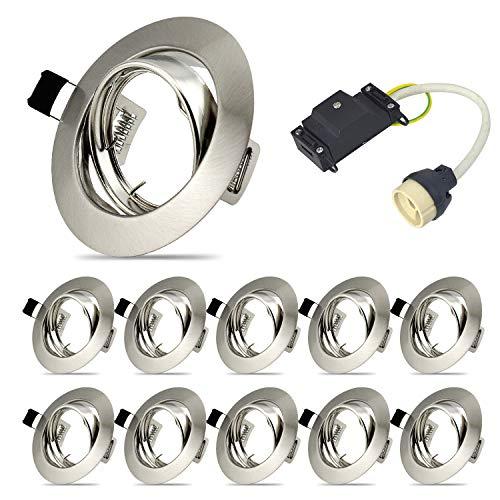 Juego de 10 marcos de montaje para foco empotrable, focos empotrables, GU10 Set, LED marco de soporte giratorio para LED y halógenos, incluye casquillo GU10, IP20, redondo, orientable a 30°