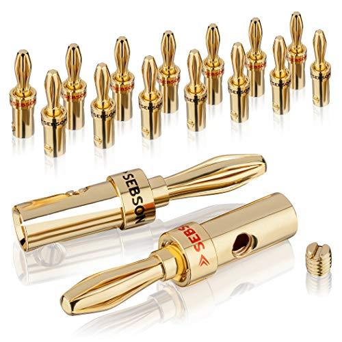 SEBSON Conector Banana de 8 Pares (16 Piezas) para Cables de Altavoz de 1,5mm² a 6mm² - Amplificador, Altavoces HiFi, Receptor - Banana Plug
