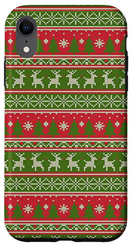 iPhone XR Christmas Pattern Ugly Xmas Sweater Knitted Tree & Reindeer Case