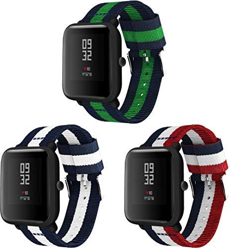 Correas para Relojes Nylon Compatible con Galaxy Watch 42mm / Watch 3 41mm / Active, Correa de Reloj de NATO para Mujer y Hombre con Hebilla de Acero Inoxidable (20mm, 3PCS D)