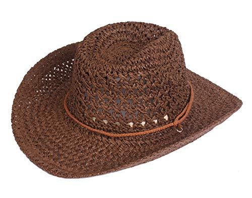 AIEOE - Sombrero de Sol de Paja Cowboy Hecho a Mano Traje de Sombrero Vaquero Fresca Gorra de Jazz Western Hat Headwear Unisex para Playa Verano