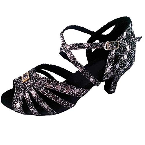 Zapatos de baile de salsa latina para mujer, punta abierta, suela suave, profesional, para fiestas, para interiores y sociales, sandalias de baile, negro (Black 6.3cm Heel), 40 EU