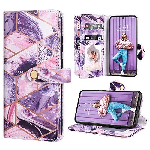 Dracool für Samsung Galaxy S20 FE 4G&5G 6.5 Zoll Hülle Handyhülle Premium Leder Flip Wallet Case für Mädchen mit 10 Kartenfach Magnet Lederhülle Klapphülle Schutzhülle - Lila Blumen Marmor