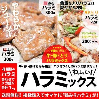 新垣ミート 牛・豚・鶏はらみ(ホルモン)メガ盛り1kg ハラミMIX 牛みそハラミ300g/豚みそハラミ300g/鶏ハラミ2種200gづつ