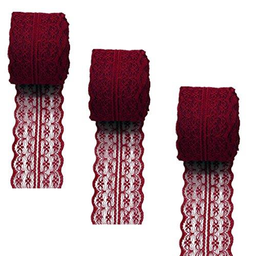 3 rollos de cinta de encaje floral elástica de encaje elástica para manualidades, joyería, manualidades, accesorios de boda, regalo de regalo, granate, 45mm x10m