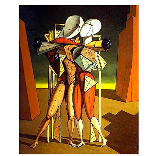 empty Abstract Painting Giorgio de Chirico-Hector and Andromach on Oil Canvas for Room Decor, Gallery,wallpaper-50x70cm Frameless