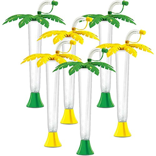 Palm Tree Luau Yard Cups Party 6-Pack - for Margaritas, Cold Drinks, Frozen Drinks, Kids Parties - 14 oz. (400 ml) - set of 6 Yard Cups in assorted Palm colors