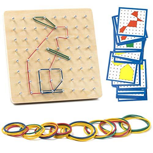 ZWOOS Geoboard de Madera Geometría Geoboard Rompecabezas de Formas Inspire la Imaginación y Creatividad de Los Niños ,Montessori Juguetes educativos Madera