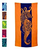 Nova Blue Seahorse Beach Towel  Blue and Orange with A Tropical Design, Extra Large, XL (34x 63) Made from 100% Cotton for Kids & Adults